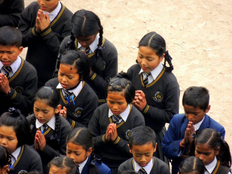 School students at prayer line-Ravangla-Sikkim